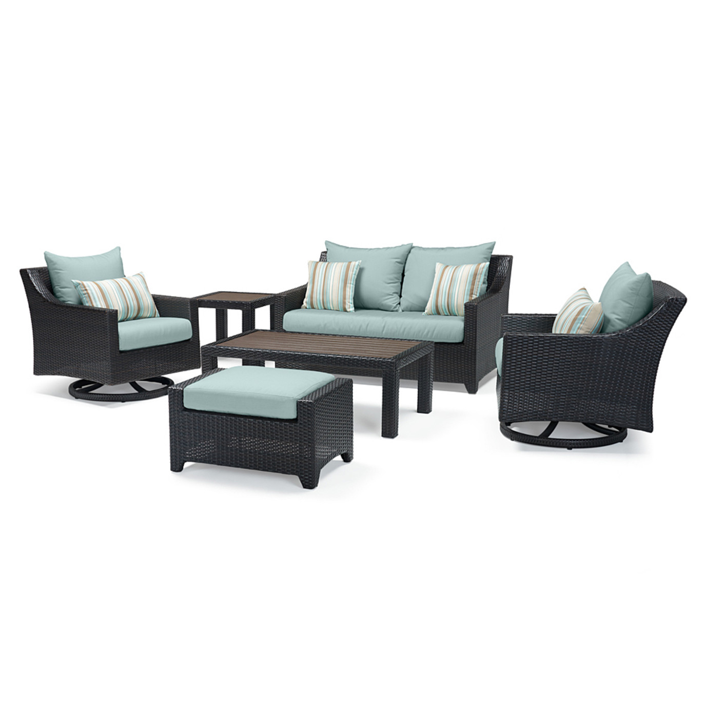 Deco Deluxe 6 Piece Love & Motion Club Seating Set - Bliss Blue