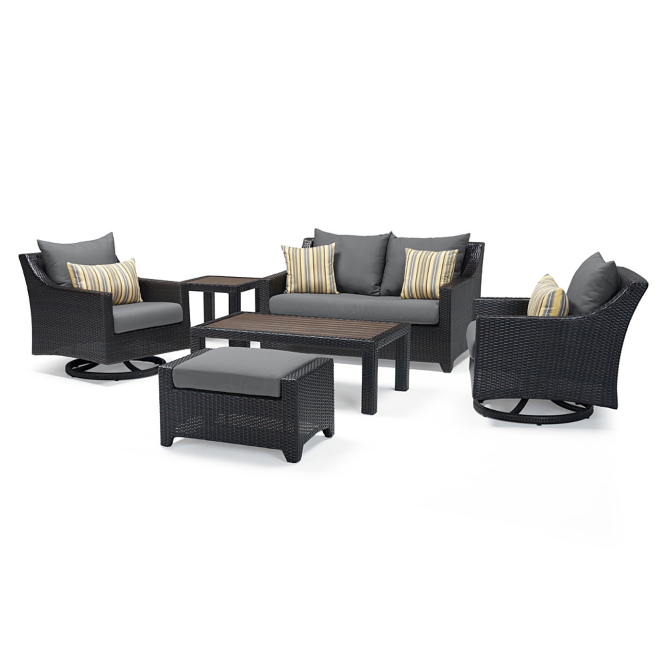 Deco Deluxe 6pc Love & Motion Club Seating Set - Charcoal Gray