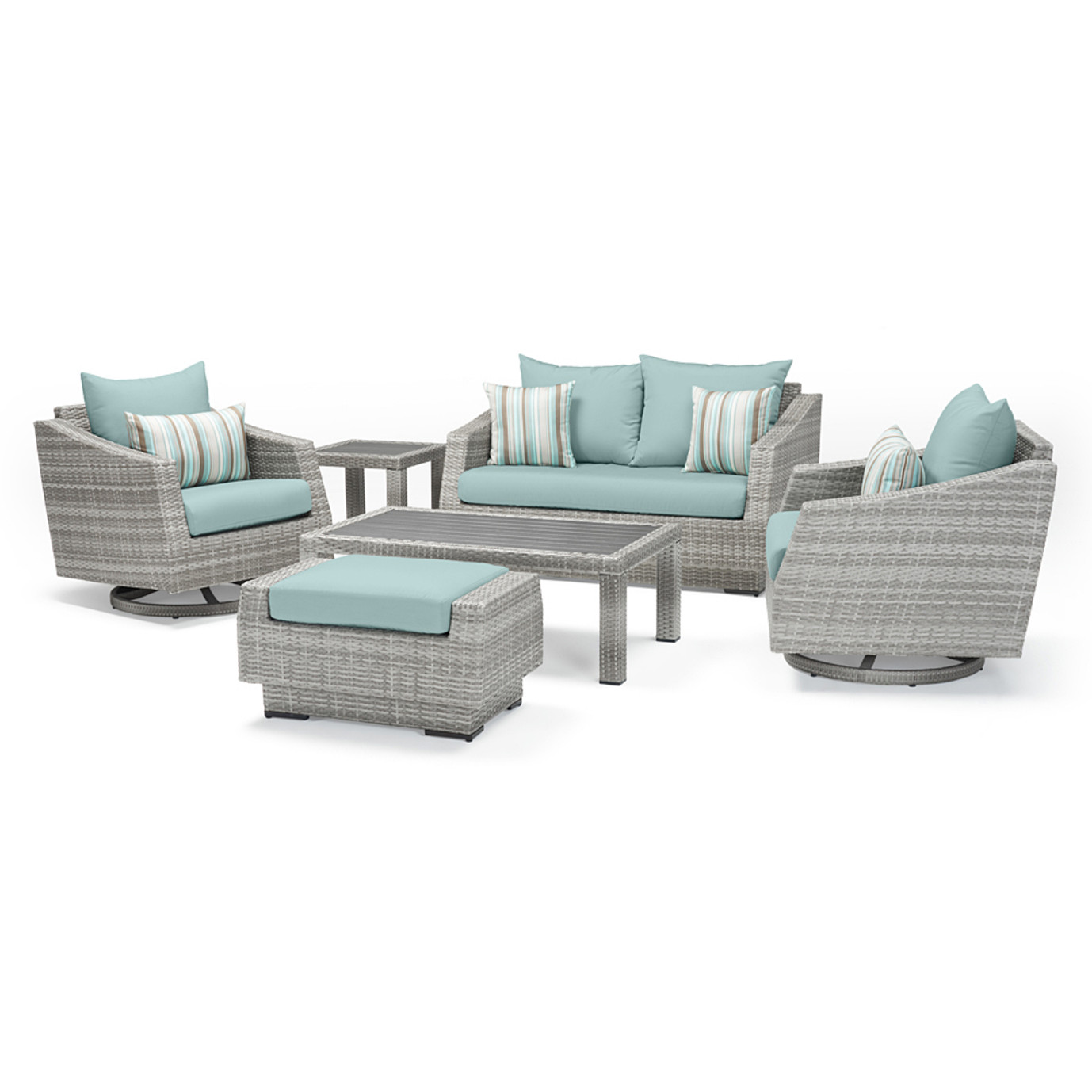Cannes Deluxe 6 Piece Love & Motion Club Seating Set - Bliss Blue