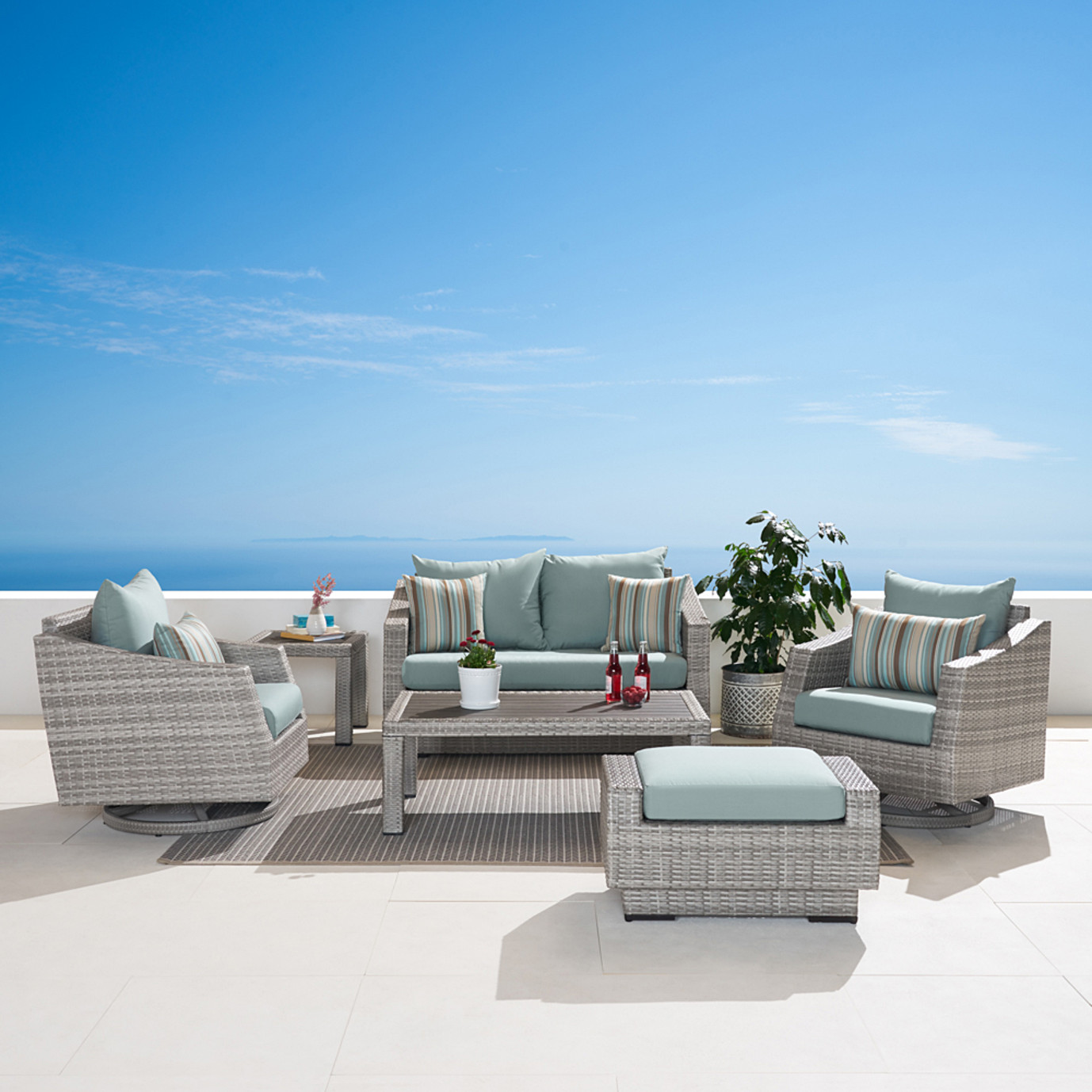 Cannes Deluxe 6pc Love & Motion Club Seating Set - Bliss Blue