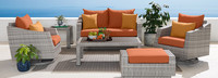 Cannes™ Deluxe 6 Piece Love & Motion Club Seating Set - Charcoal Gray