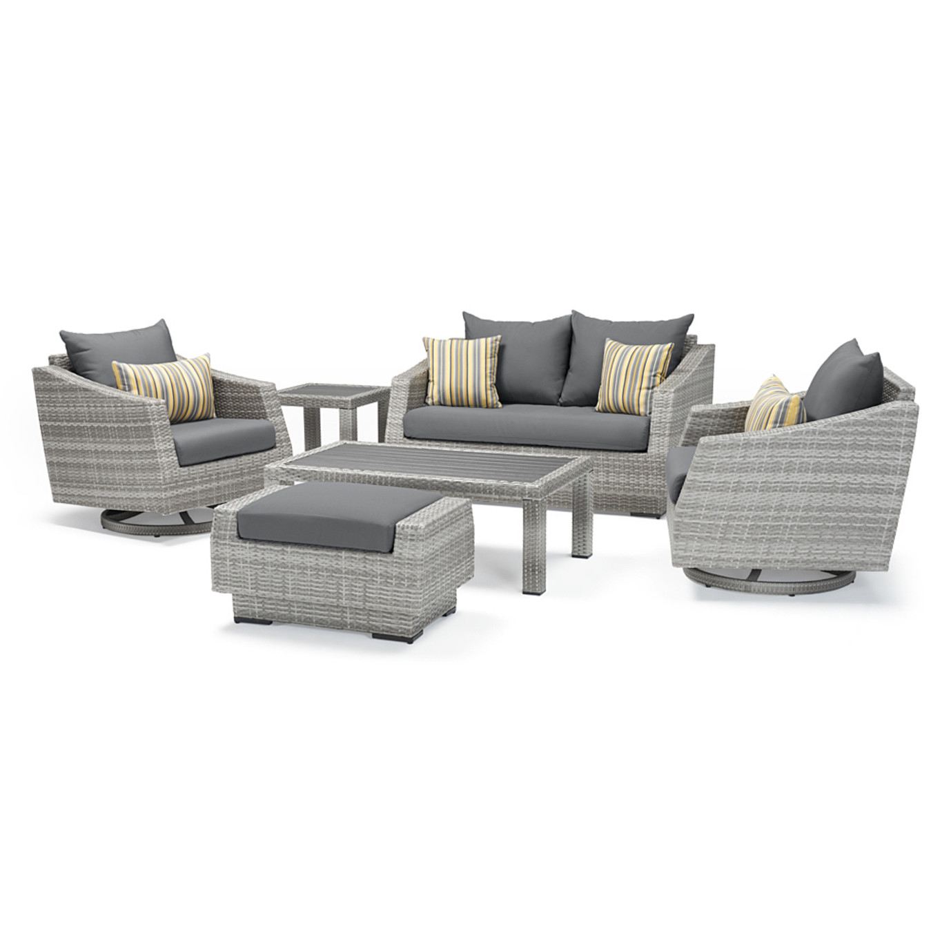 Cannes Deluxe 6 Piece Love & Motion Club Seating Set - Charcoal Gray