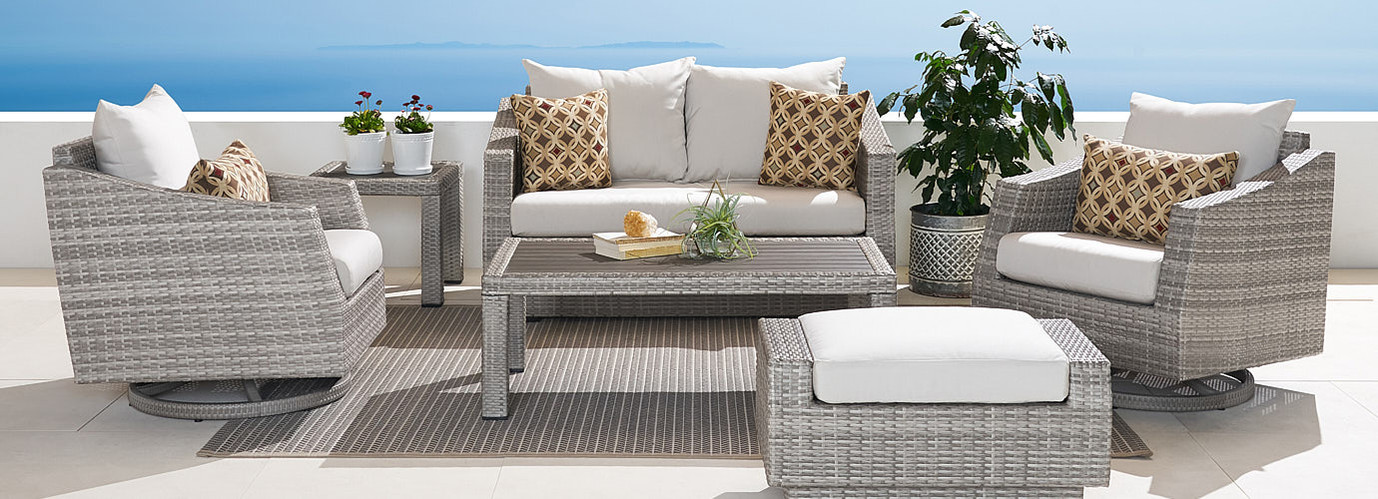 Cannes™ Deluxe 6 Piece Love & Motion Club Seating Set - Moroccan Cream
