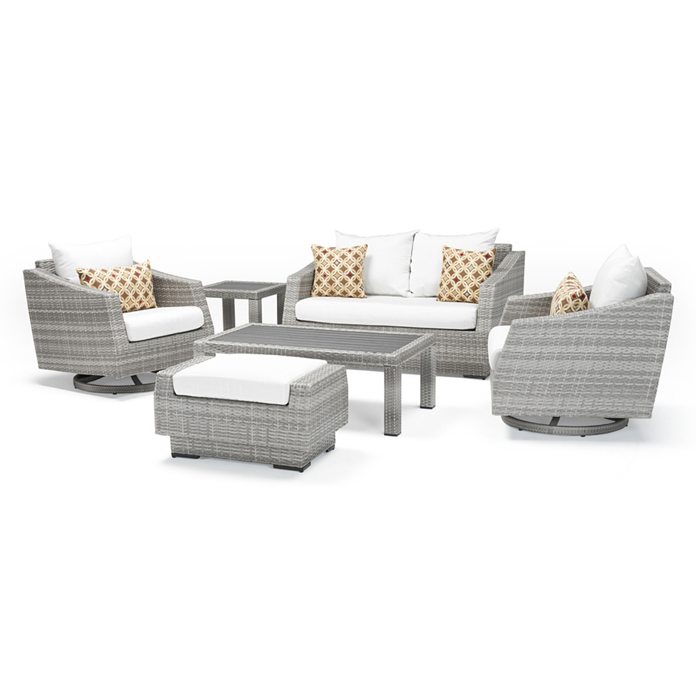 Cannes Deluxe 6 Piece Love & Motion Club Seating Set - Moroccan Cream