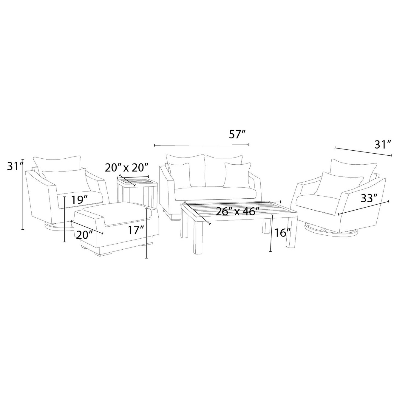 Cannes Deluxe 6pc Love & Motion Club Seating Set - Slate Grey