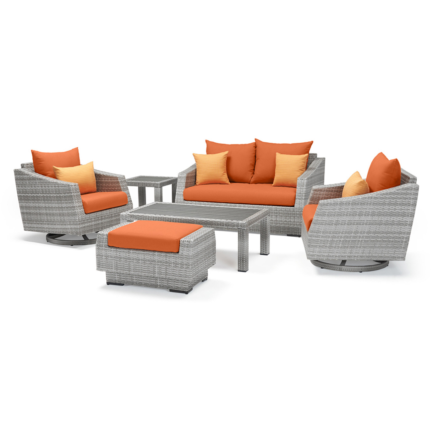 Cannes Deluxe 6pc Love & Motion Club Seating Set - Tikka Orange