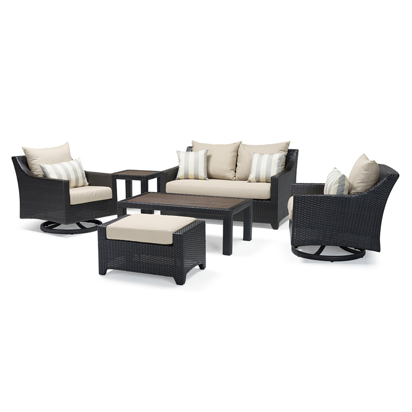 Deco Deluxe 6pc Love & Motion Club Seating Set - Slate Gray