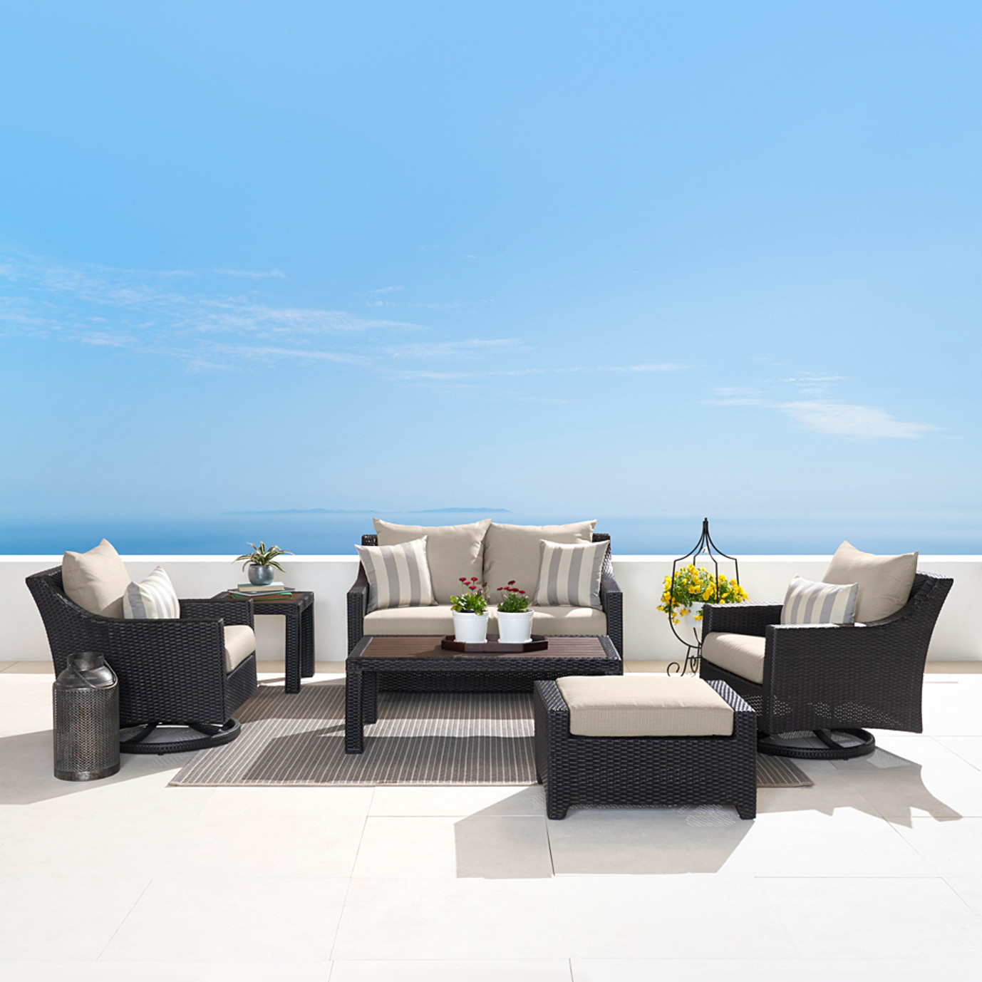 Deco Deluxe 6pc Love & Motion Club Seating Set - Slate Grey