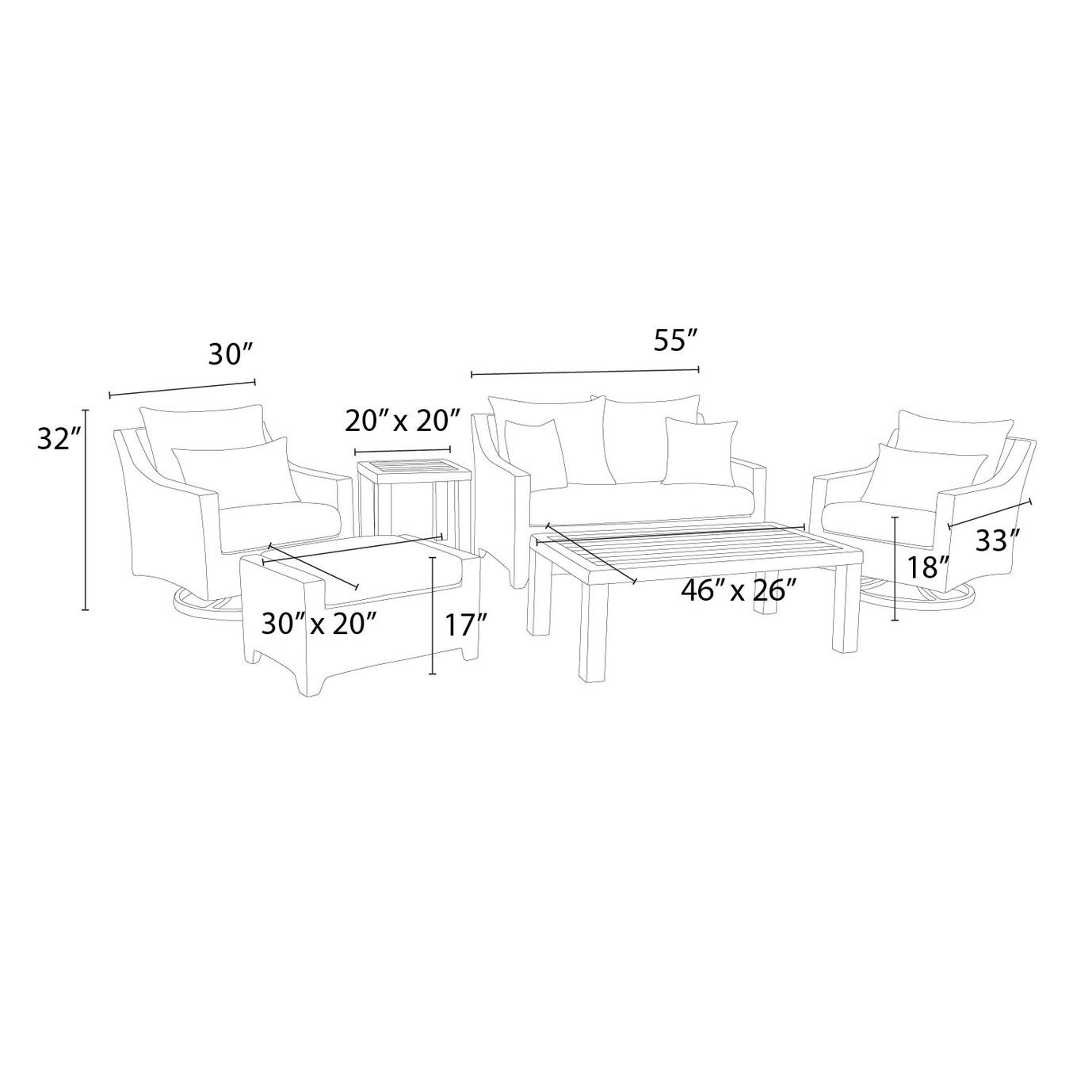 Deco™ Deluxe 6pc Love & Motion Club Seating Set - Maxim Beige