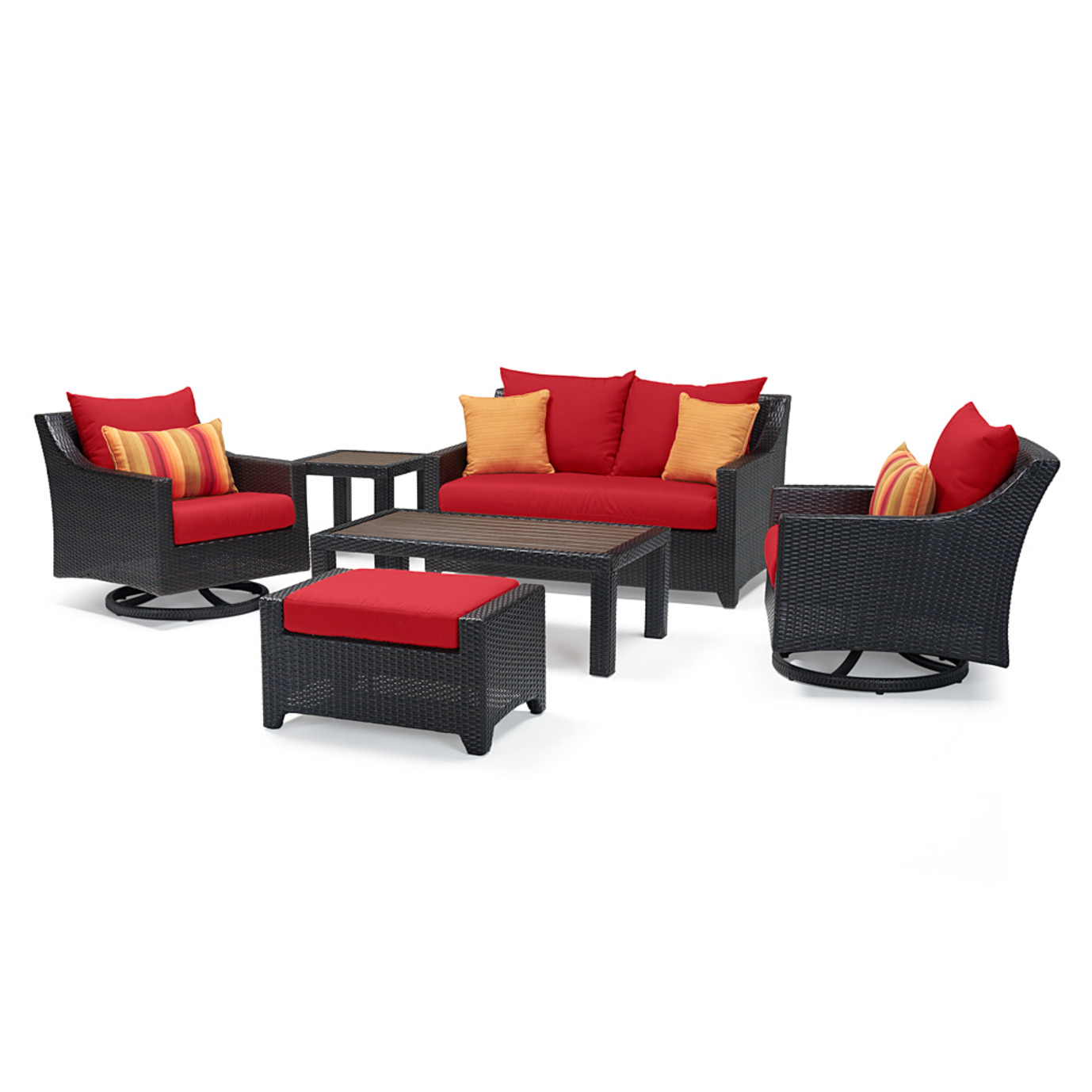 Deco™ Deluxe 6 Piece Love & Motion Club Seating Set - Sunset Red