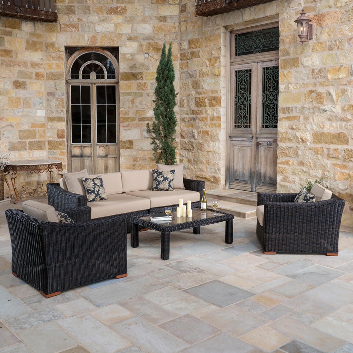 Resort™ Deluxe 5pc Deep Seating Set - Espresso/ Heather Beige