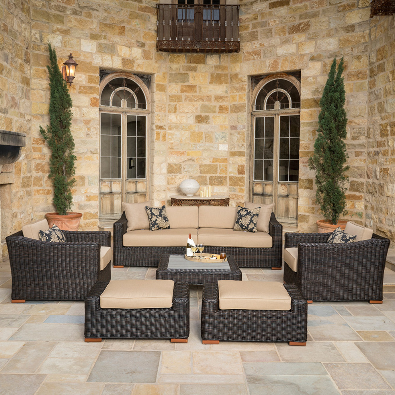 Resort™ 7pc Deep Seating Set - Espresso/Heather Beige