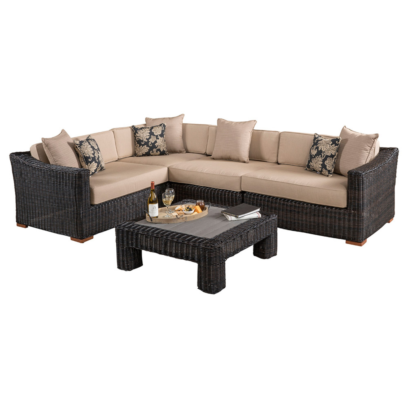Resort™ 5pc Sectional & Table Set - Espresso/Heather Beige