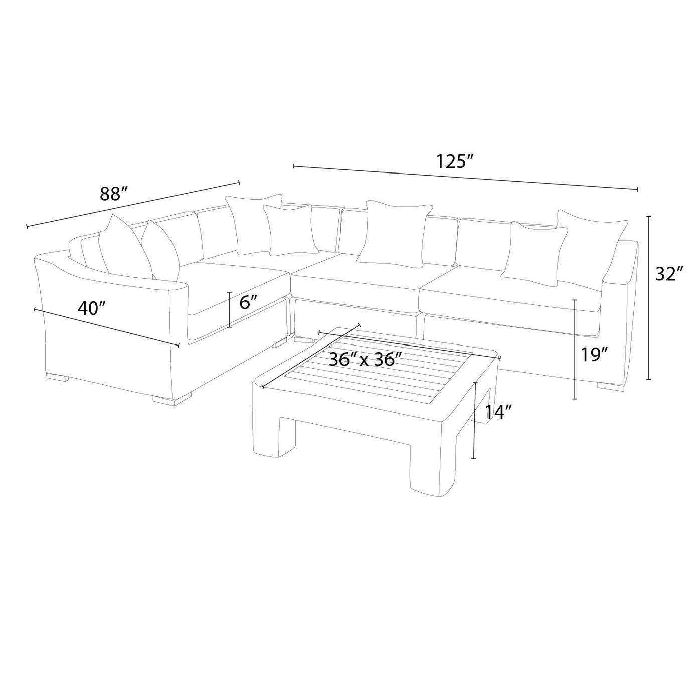 Resort™ 5pc Sectional & Table Set - Espresso/Heather Beige