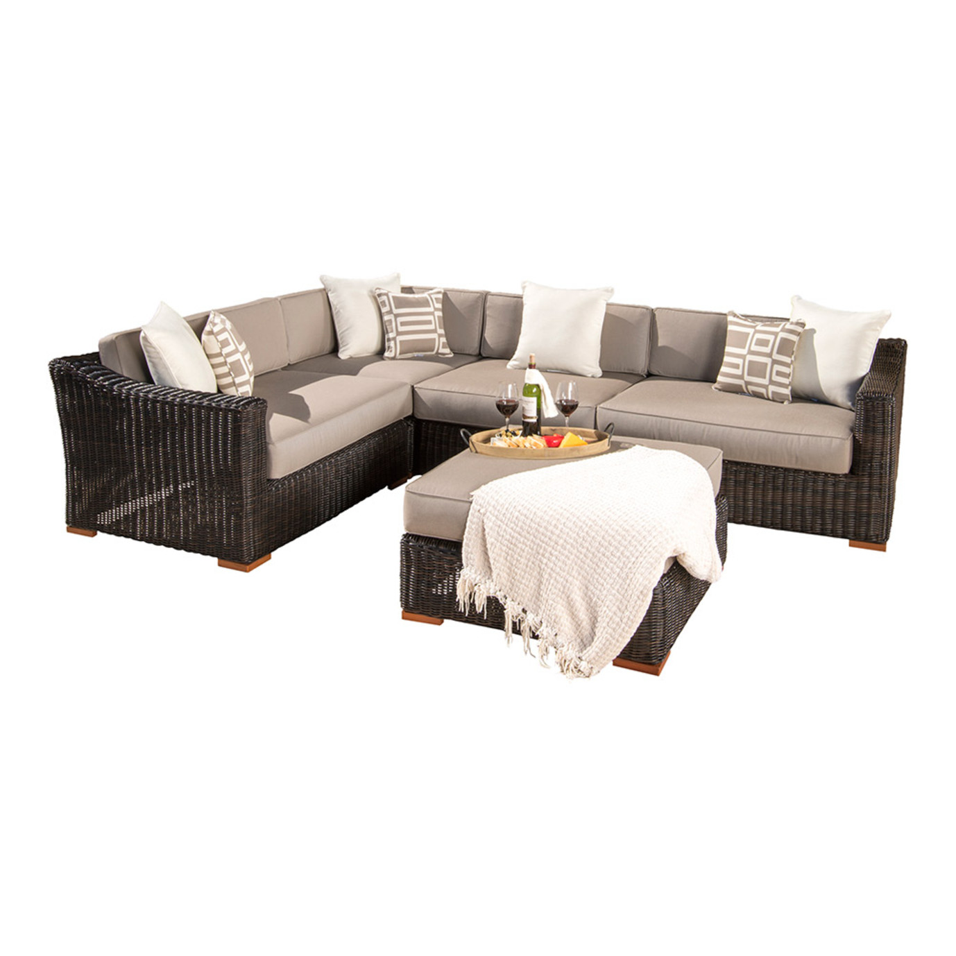Resort™ 5pc Sectional & Ottoman Set - Espresso/Frank Stone