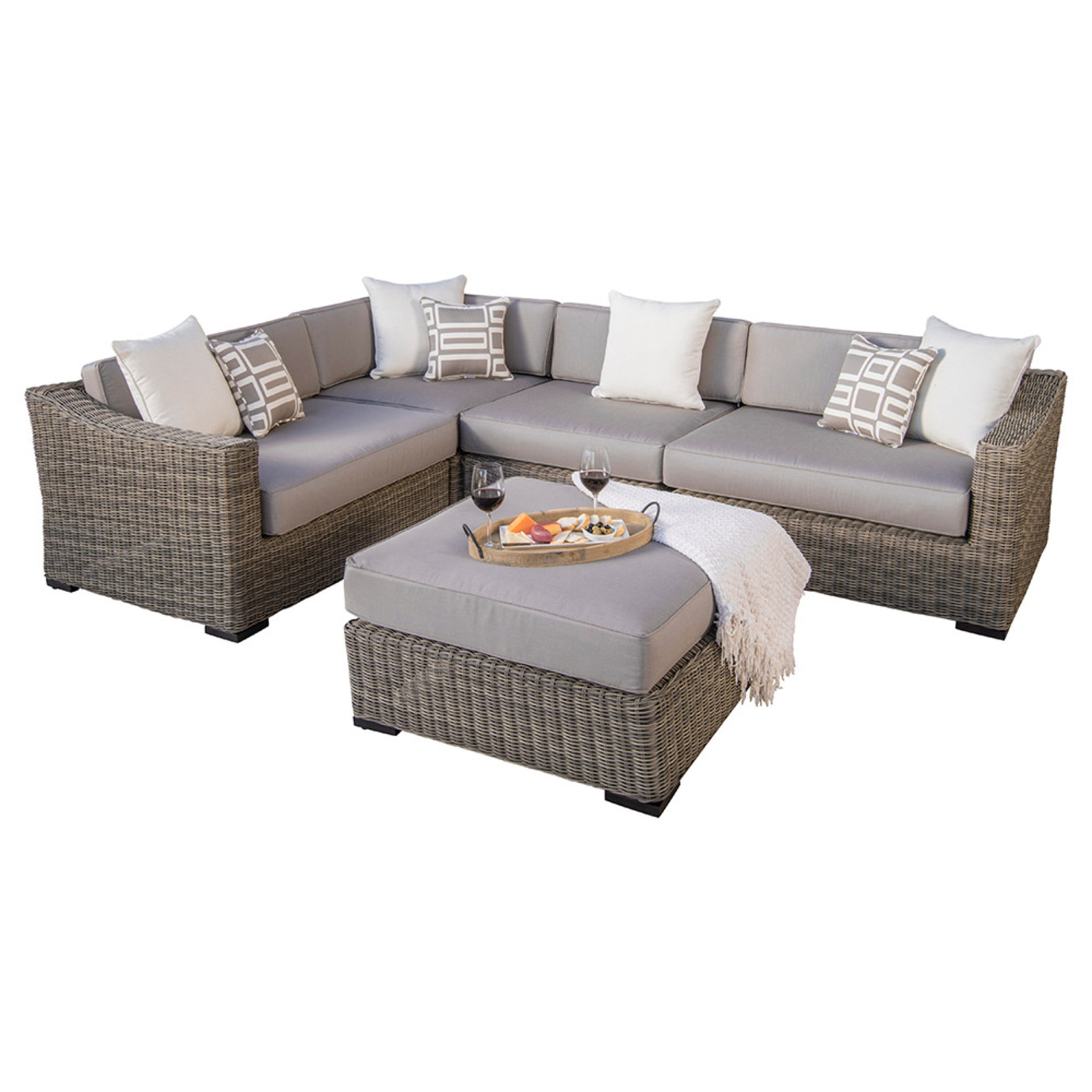 Resort™ 5pc Sectional & Ottoman Set - Weathered Grey/Frank Stone