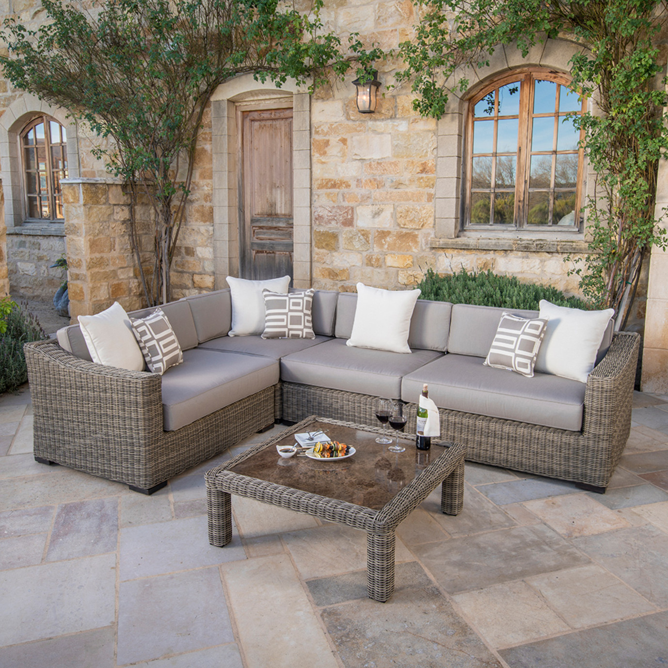 Resort™ Deluxe 5 Piece Seating Set - Weathered Grey