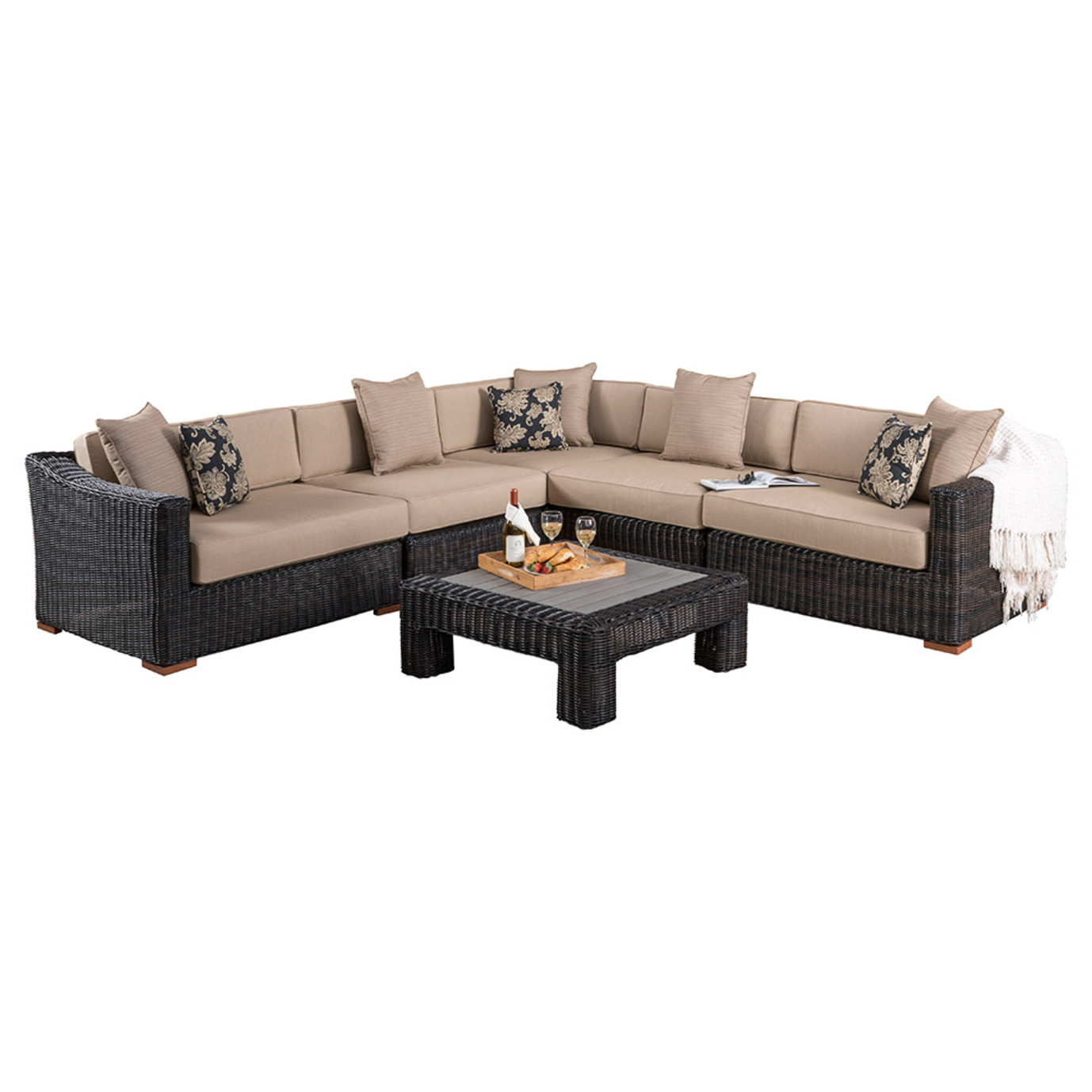 Resort™ 6pc Sectional & Table Set - Espresso/Heather Beige