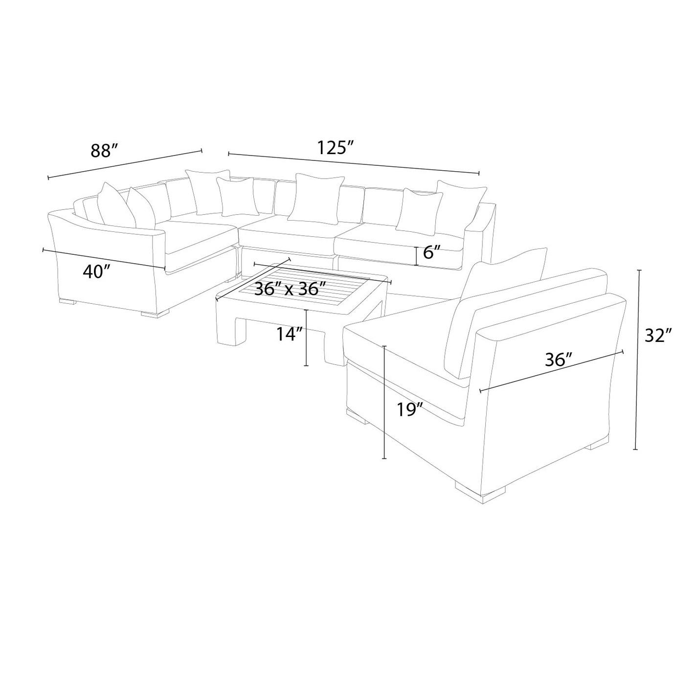 Resort™ 6pc Sectional & Table Set - Espresso/Heather Beige