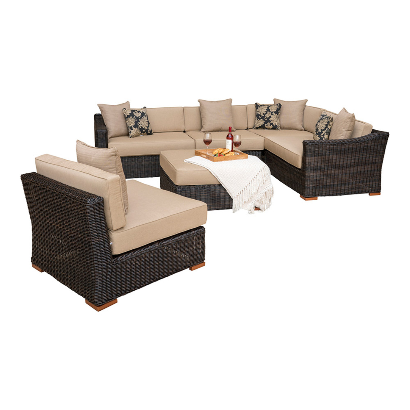 Resort™ 6pc Sectional Set with Ottoman - Espresso/Heather Beige
