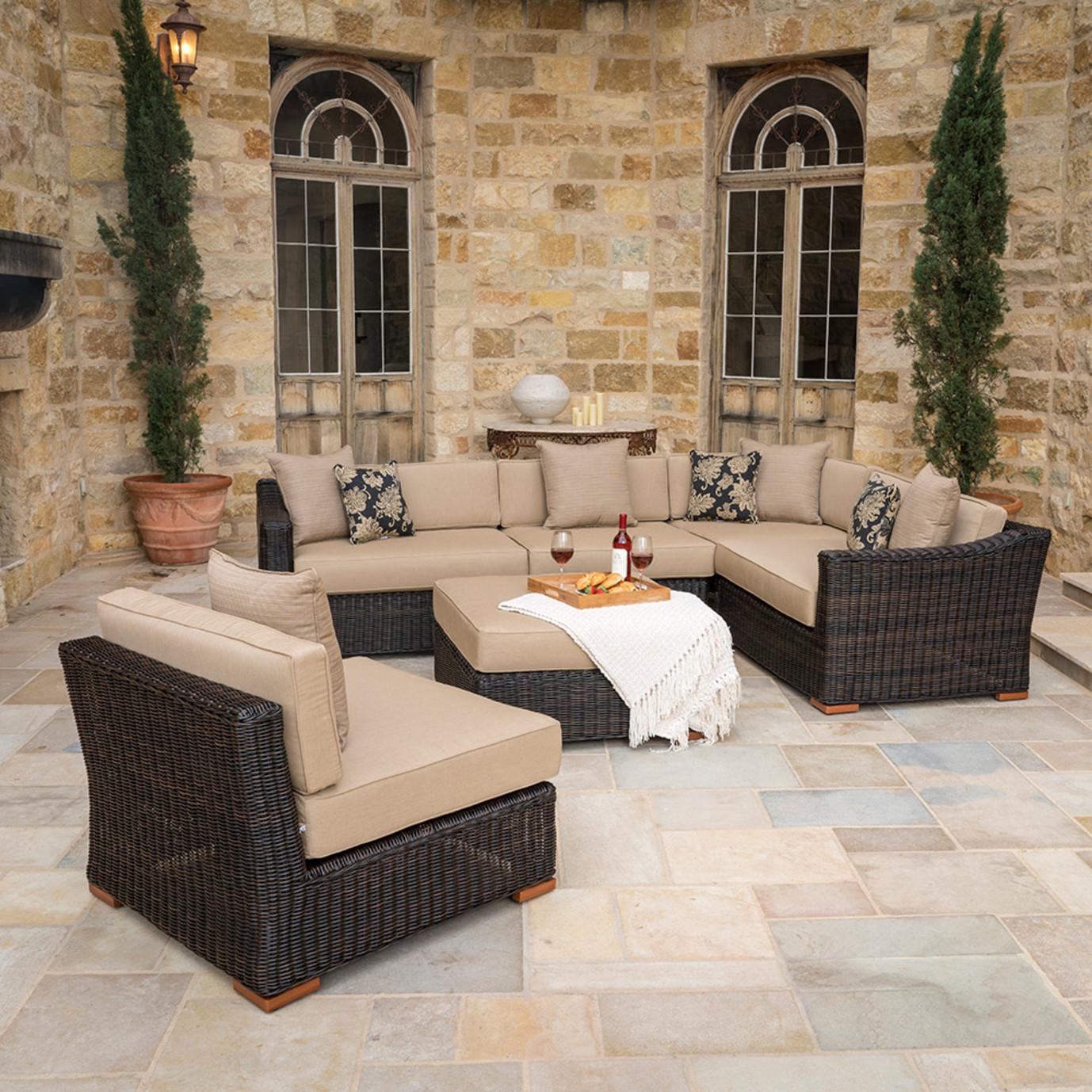 Resort™ 6 Piece Sectional Set with Ottoman - Espresso/Heather Beige
