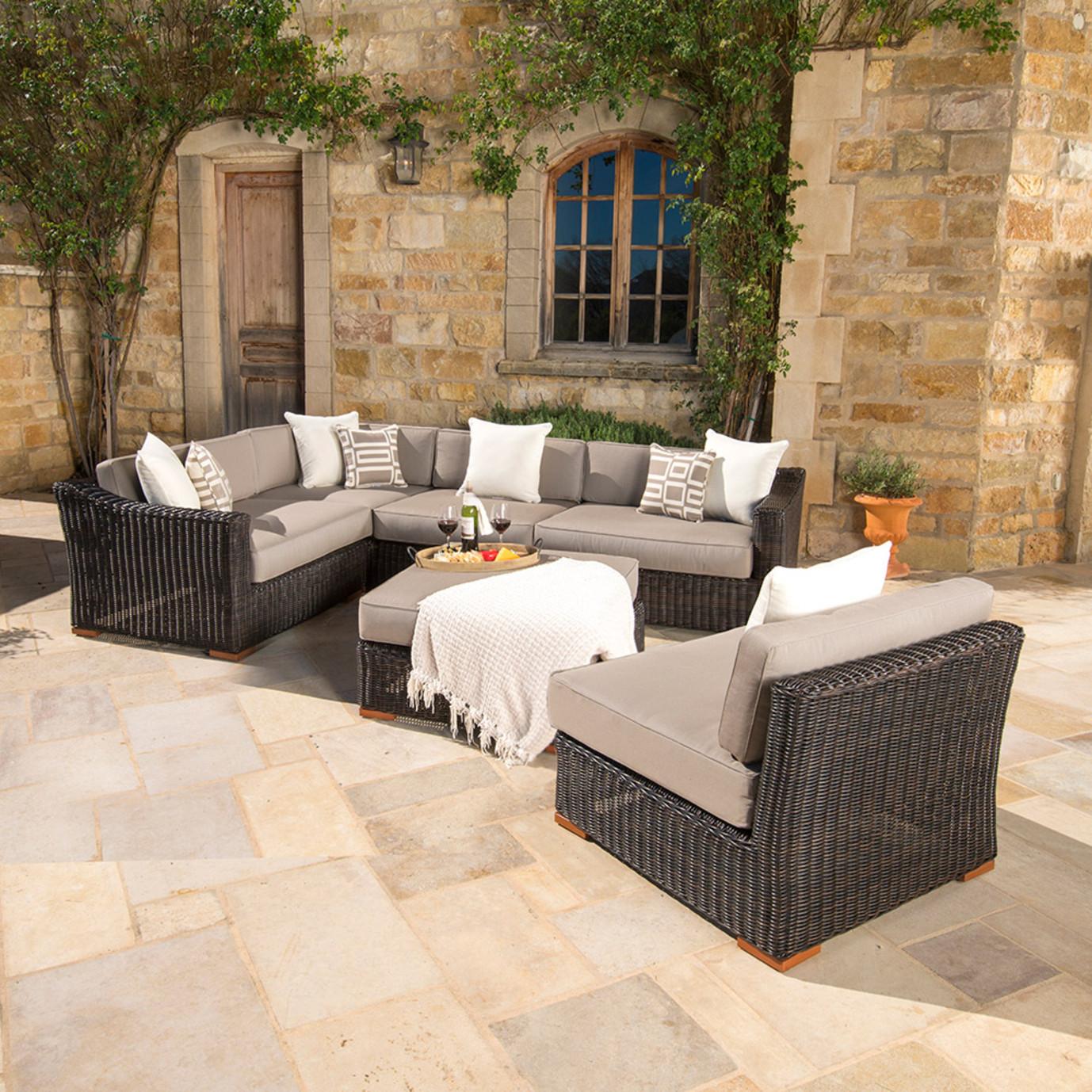 Resort™ 6pc Seating Set with Ottoman – Espresso/Frank Stone