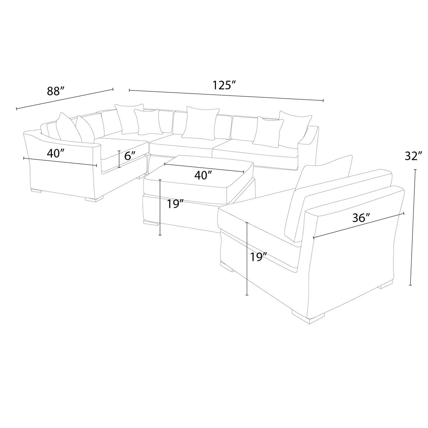 Resort™ 6pc Sectional with Ottoman – Weathered Grey/Frank Stone