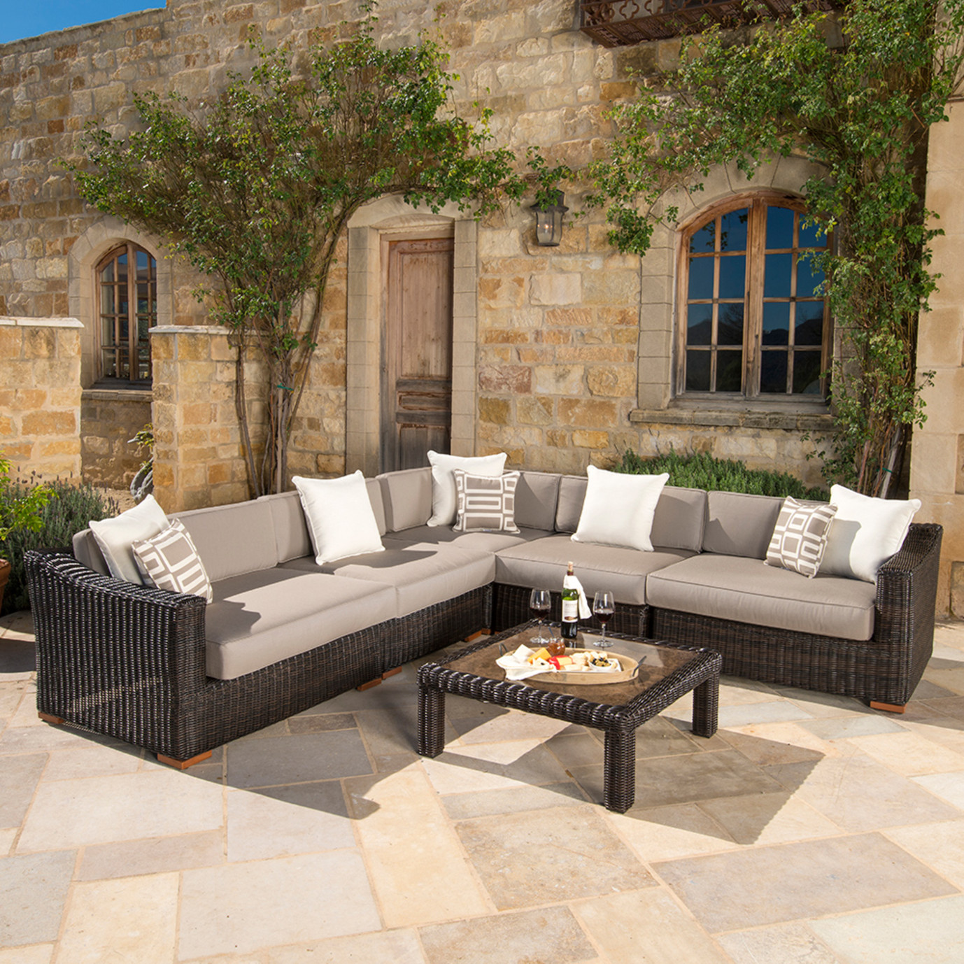 Resort™ Deluxe 6pc Sectional Set - Espresso/ Frank Stone