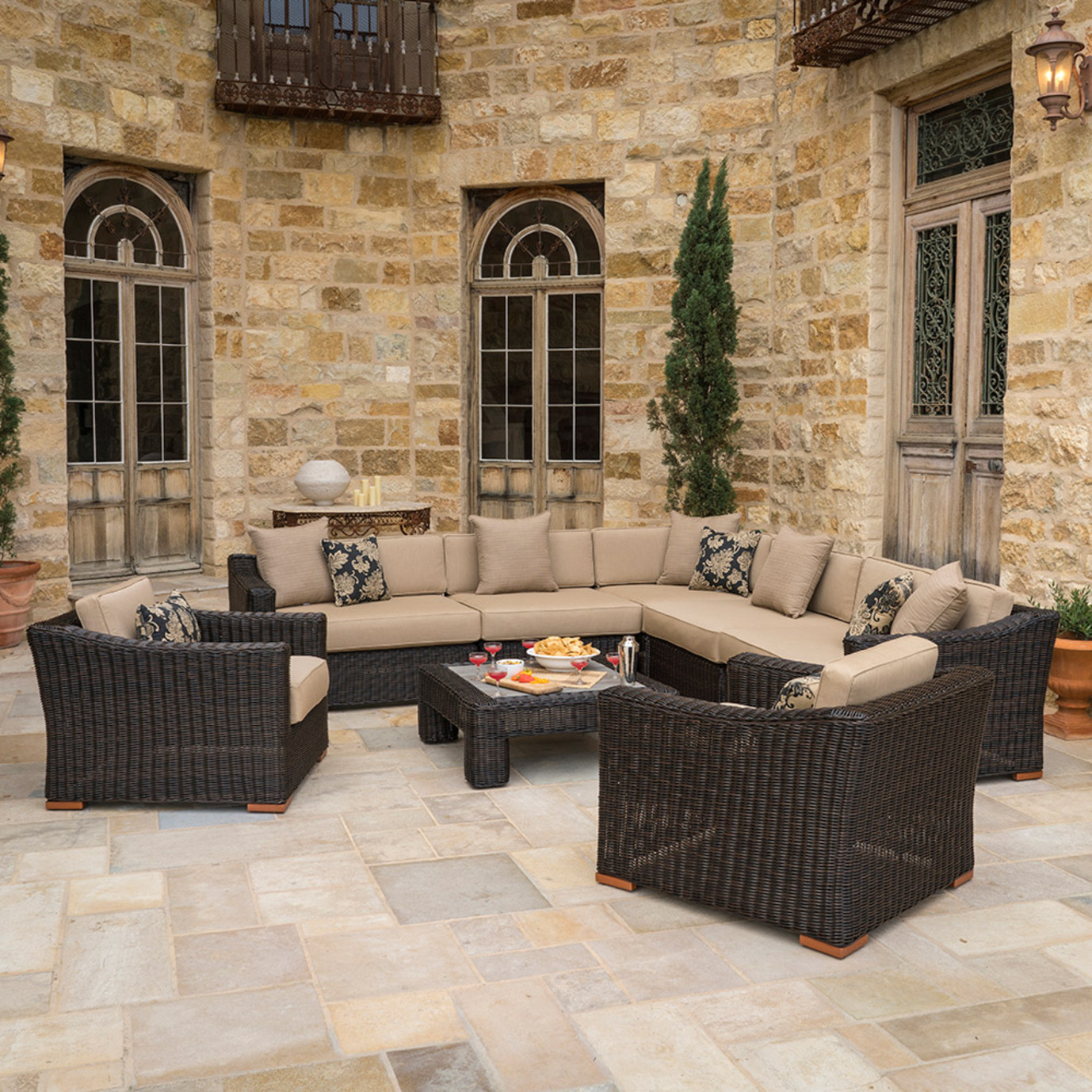 Resort™ 8pc Sectional and Club Set - Espresso/Heather Beige