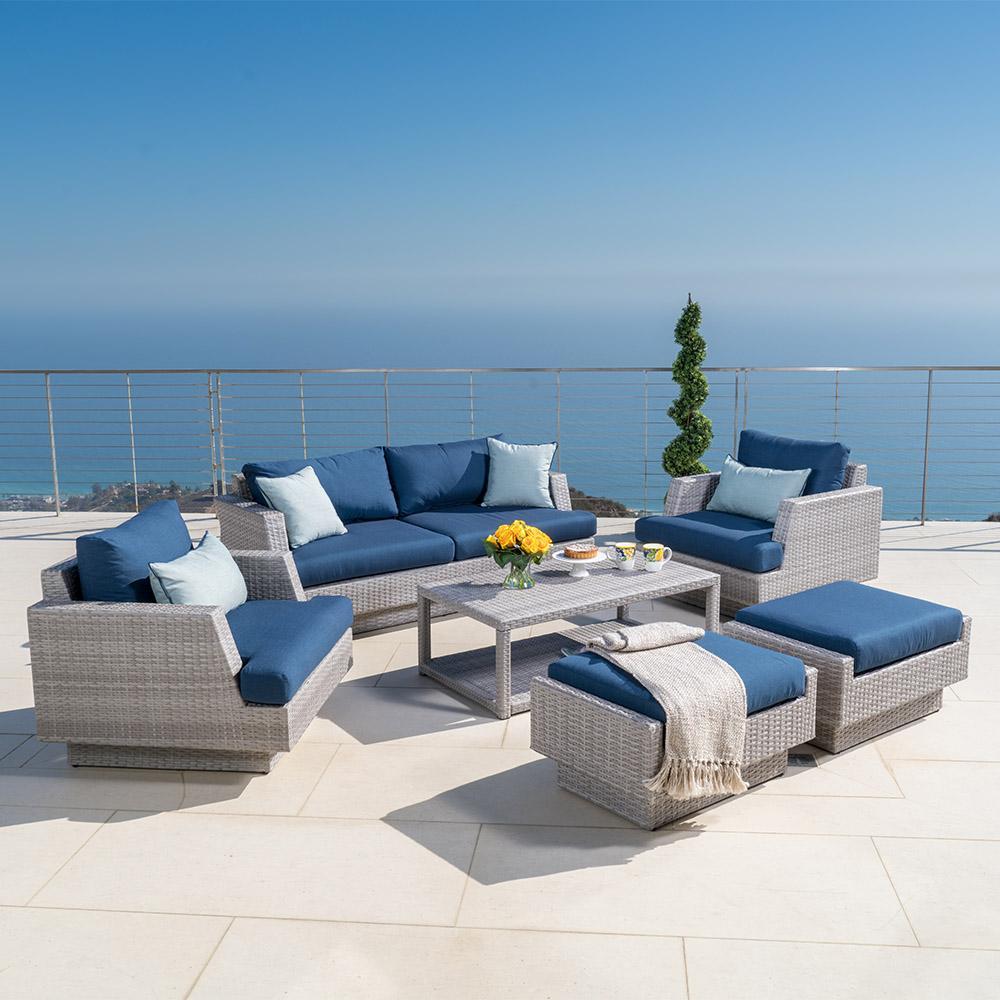 portofino comfort 6pc loveseat group laguna blue - Rst Brands