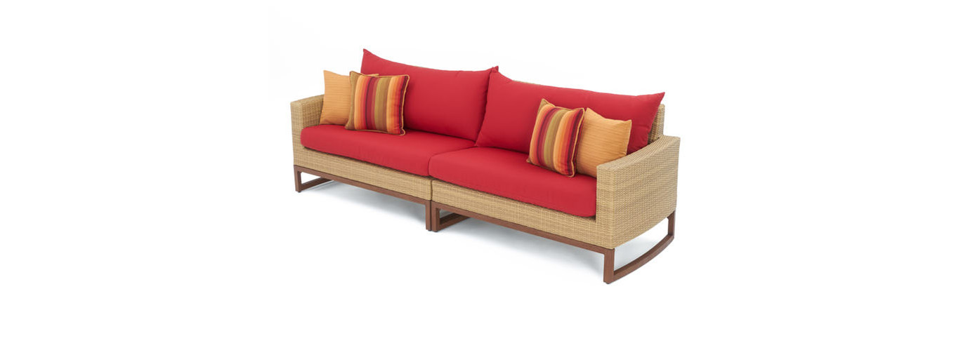 Mili™ 96in Sofa - Sunset Red