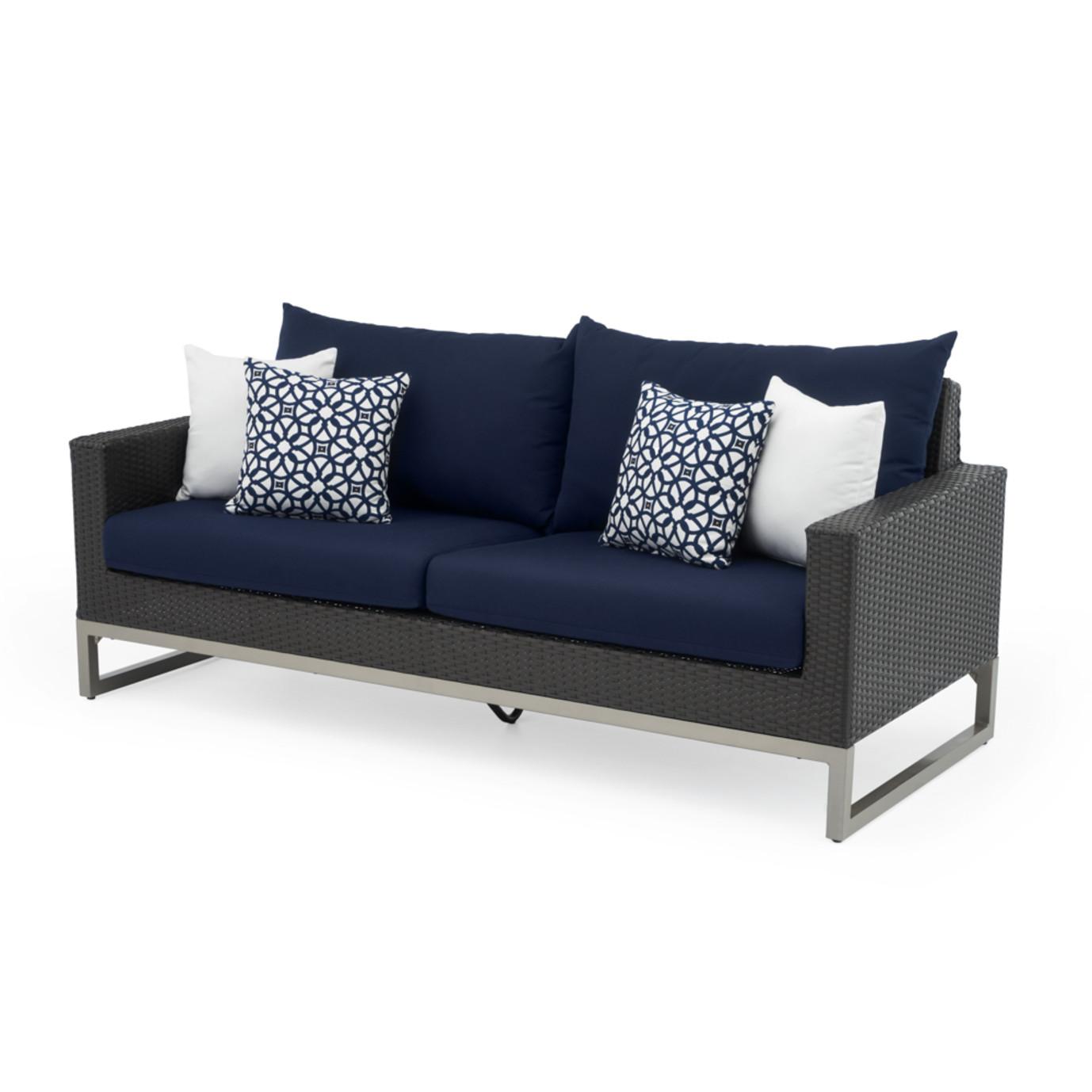 Milo™ Espresso 78in Sofa - Navy Blue