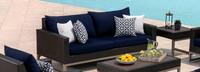 Milo™ Espresso 78in Sofa - Spa Blue