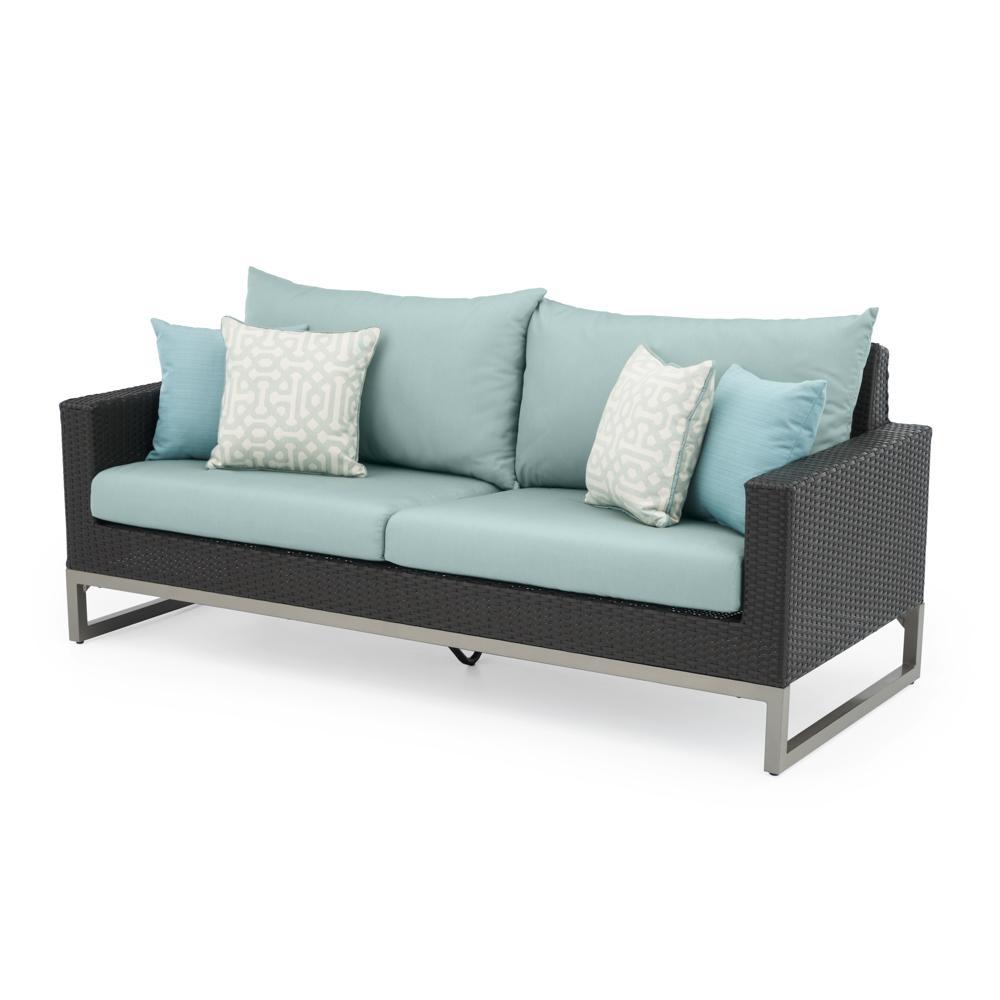 Milo Espresso 78in Sofa - Spa Blue