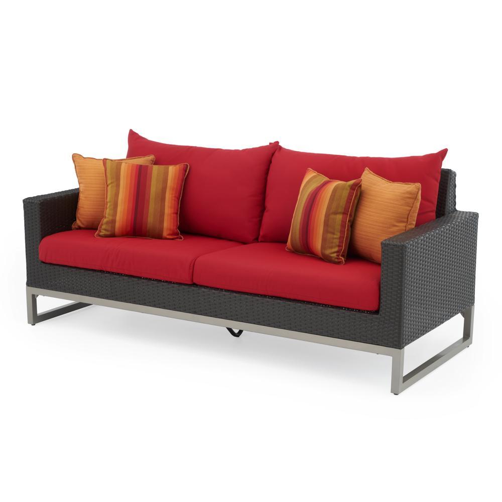 Milo Espresso 78in Sofa - Sunset Red