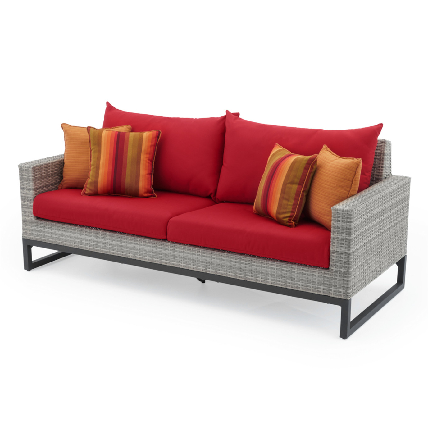 Milo™ Gray 78in Sofa - Sunset Red