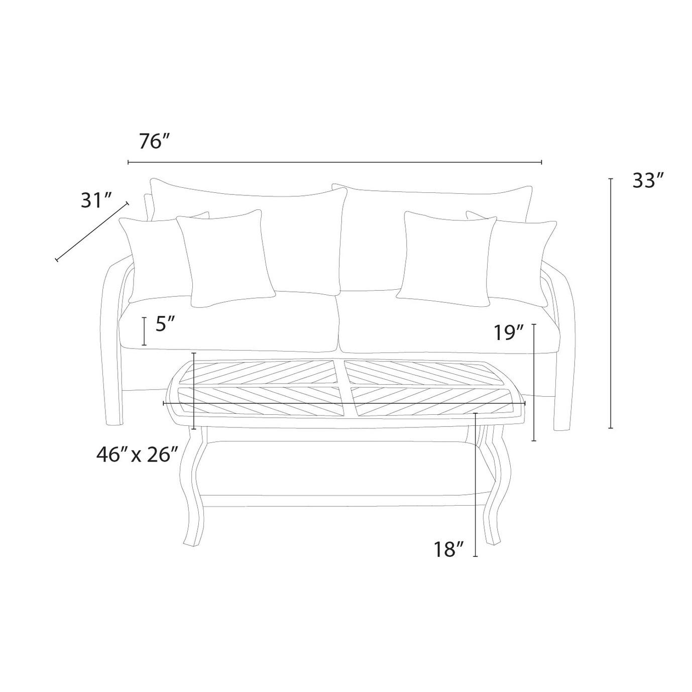 Barcelo™ Sofa & Coffee Table - Navy Blue