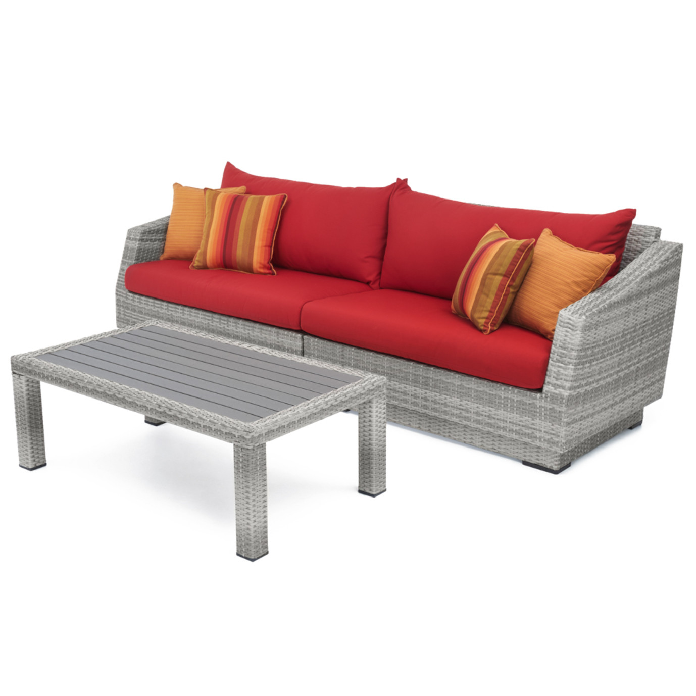 Cannes™ Sofa & Deluxe Coffee Table - Sunset Red