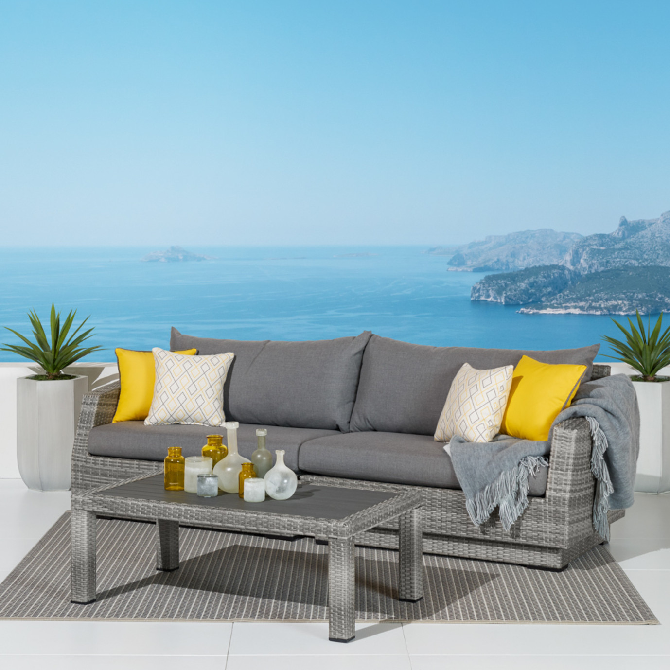 Cannes™ Sofa & Deluxe Coffee Table - Sunflower Yellow