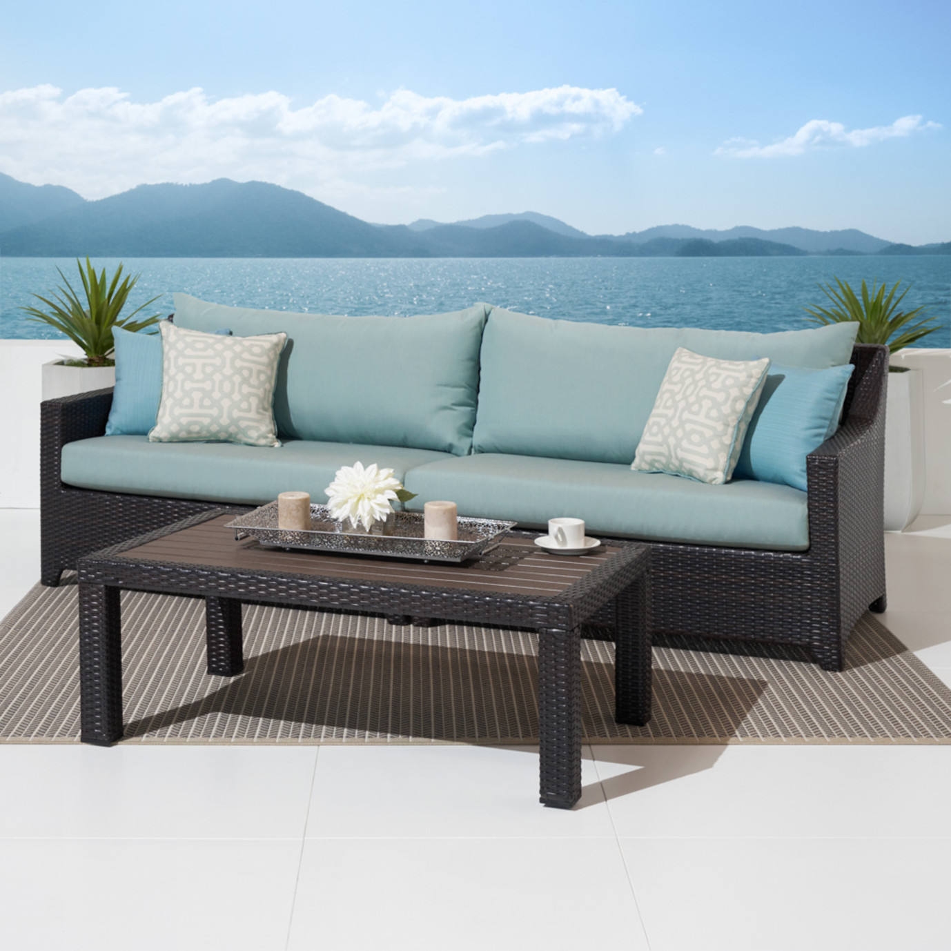 Deco™ Sofa with Deluxe Coffee Table - Spa Blue