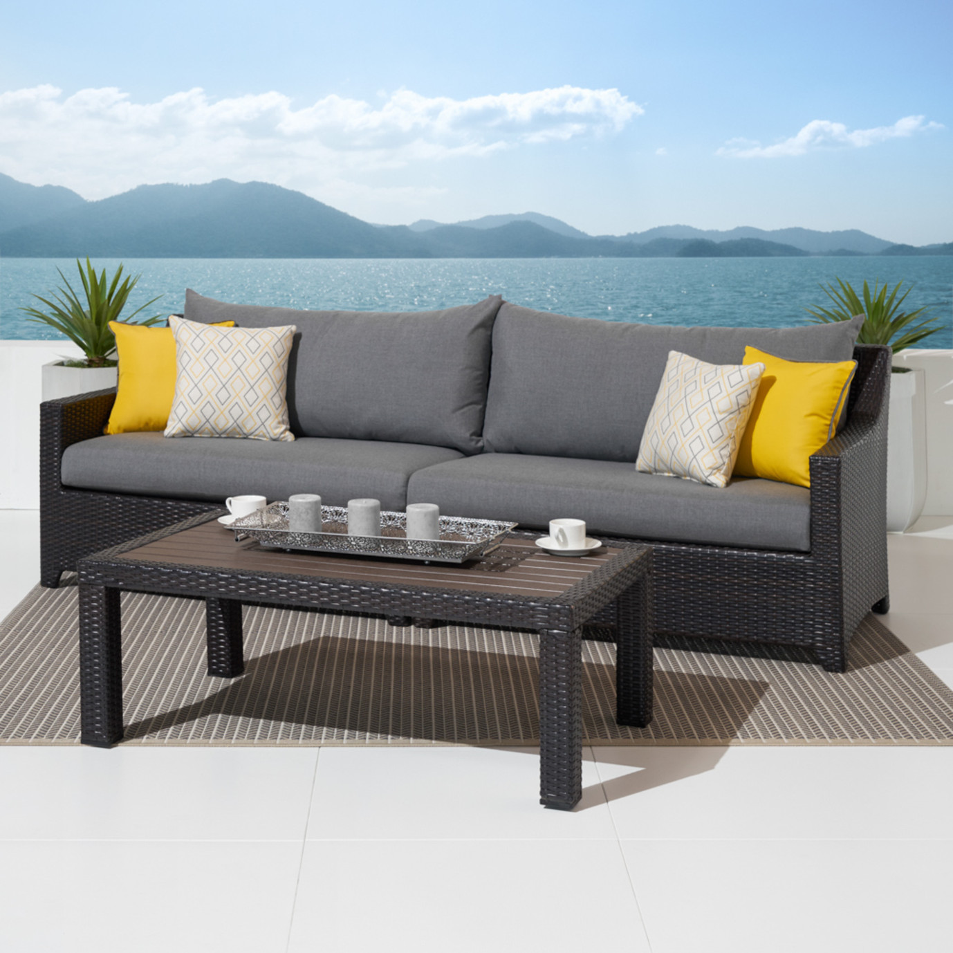 Deco™ Sofa with Deluxe Coffee Table - Sunflower Yellow