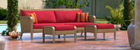 Grantina™ 88in Sofa and Ottomans - Sunset Red