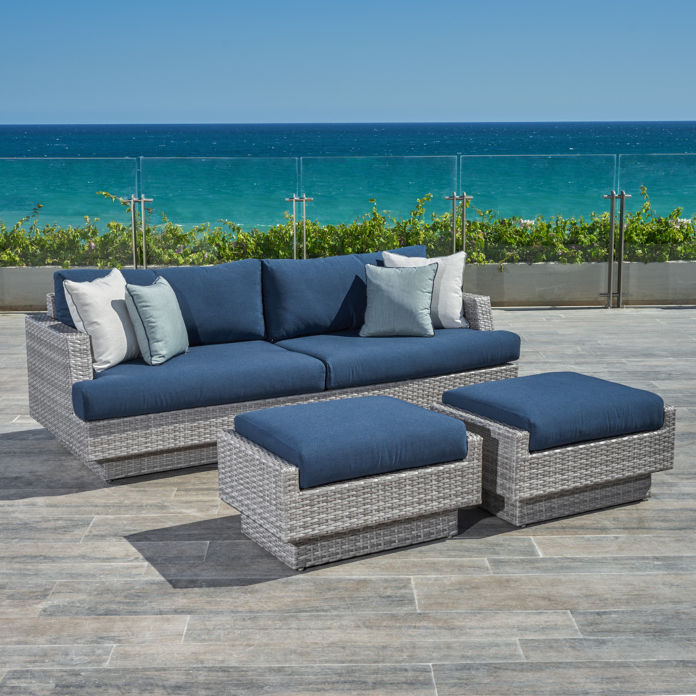 Portofino® Comfort 88in Sofa & Ottomans - Laguna Blue