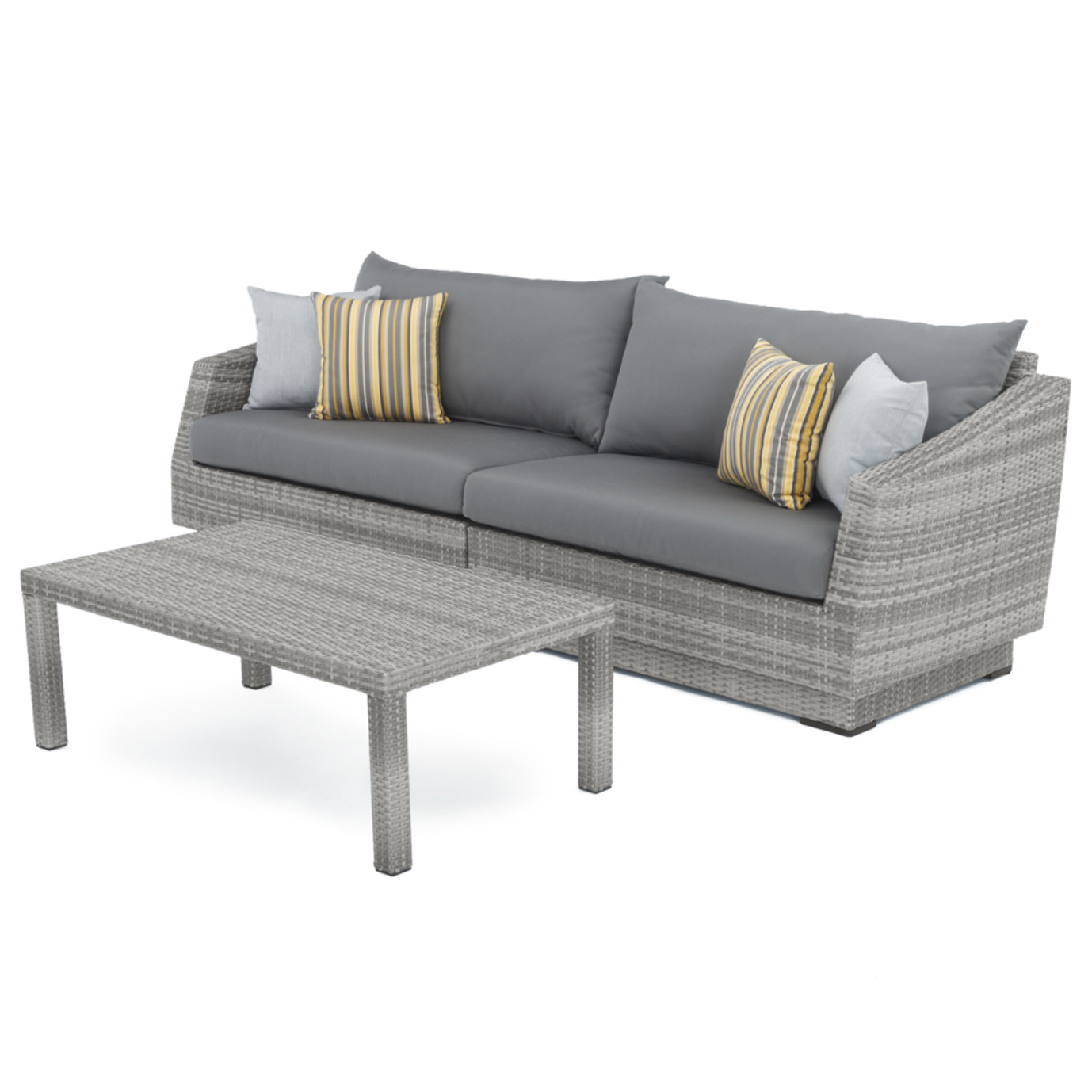 Cannes Sofa And Coffee Table Charcoal Grey Rst Brands