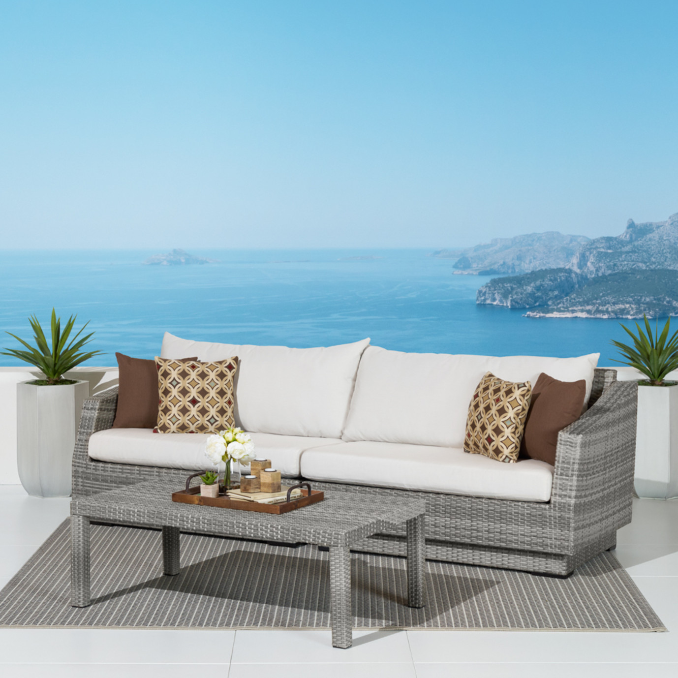 Cannes™ Sofa and Coffee Table - Moroccan Cream