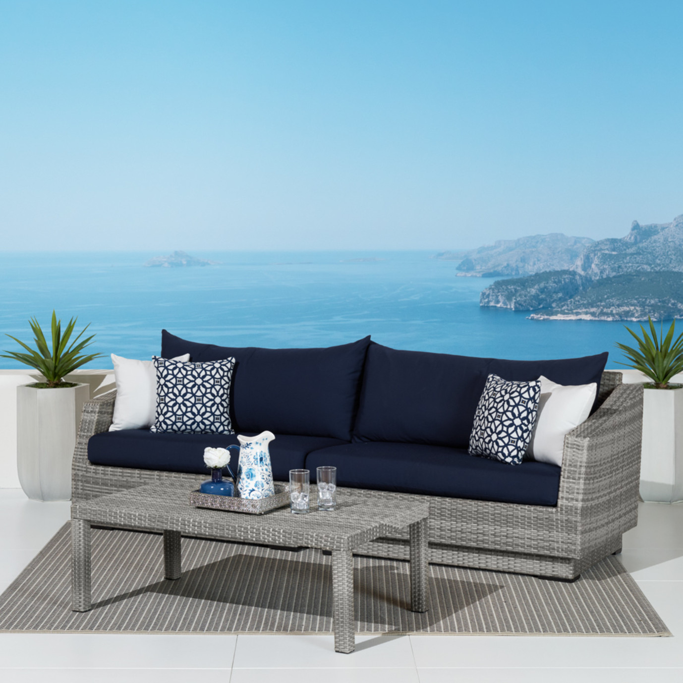 Cannes Sofa And Coffee Table Navy Blue Rst Brands