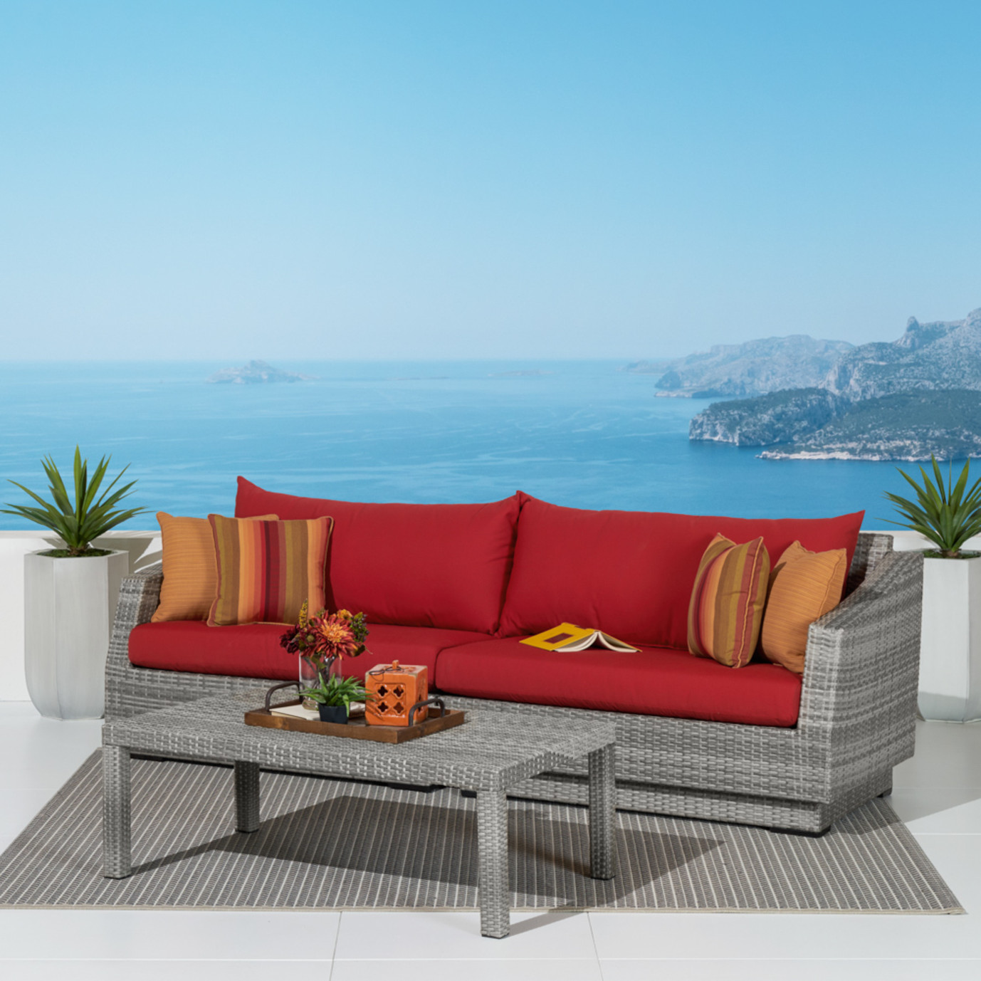 Cannes™ Sofa & Coffee Table - Sunset Red