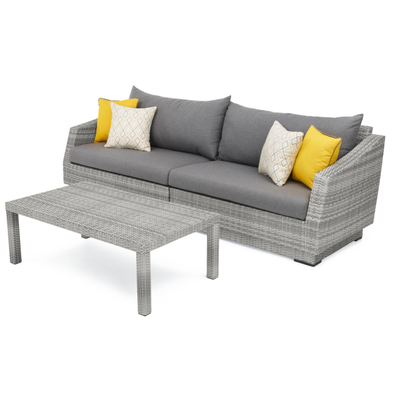 Cannes™ Sofa with Coffee Table - Sunflower Yellow