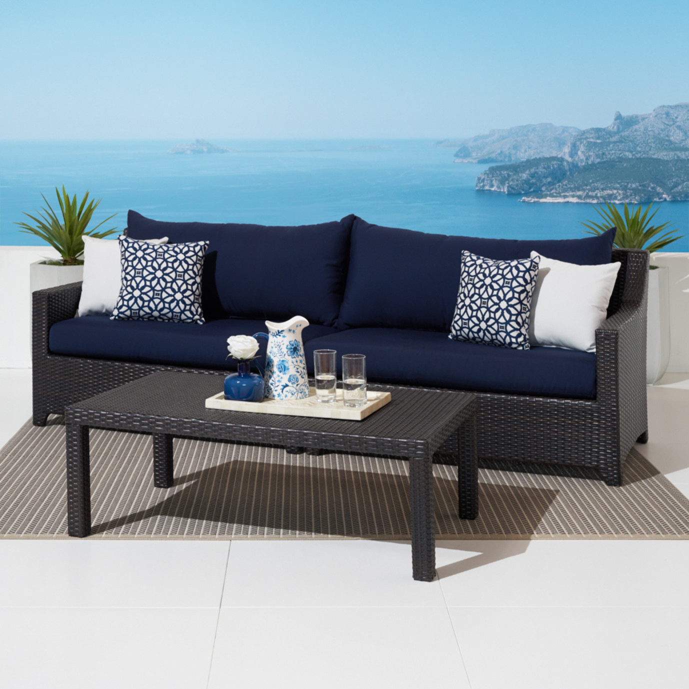 Deco Sofa With Coffee Table Navy Blue Rst Brands