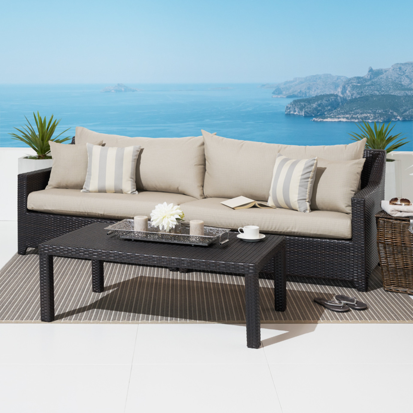 Deco Sofa With Coffee Table Slate Grey Rst Brands